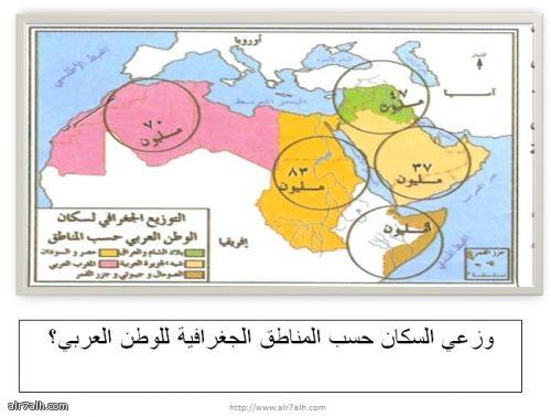 التوزيع الجغرافي لسكان الوطن حسب المناطق